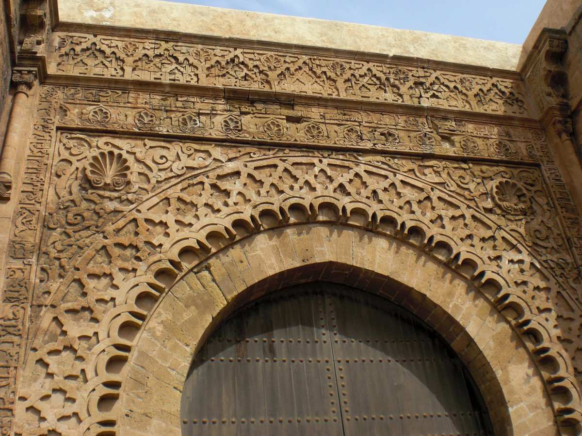 The decorations on entrance portal of the Kasbah des Oudaias in Morocco